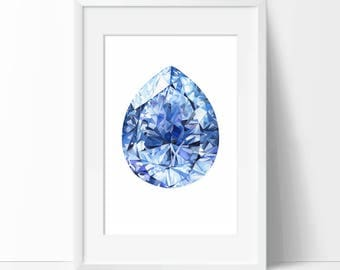 Sapphire Print, Wall Art Print, September Birthstone Poster, Watercolor Gemstone, Gemstone Print, Sapphire Painting Art Gift, Home Decor