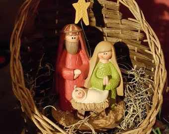 SALE* Nativity Scene with Handwoven Basket