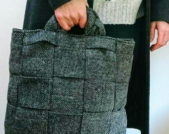 Hand Crafted grey herringbone Harris Tweed bag