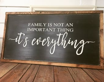 "Family is Everything Wood Sign  13 x 24"" Farmhouse Decor - Home Decor - Rustic"