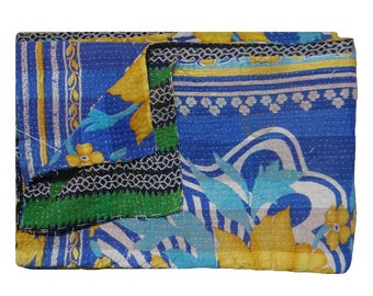 Reversible Twin Size Quilt ,Vintage Kantha Quilt  ,Indian Handmade , One of Kind, Ethnic Floral Design ,Throw Quilt #1002