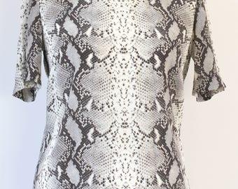 HOBBS Snake Skin Print Slik Top, Snake Skin Print Blouse, Loose Silk top, Short Sleeve Snake Skin Print Top UK Size 10, EU Size 38