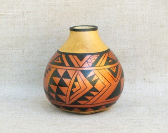 Southwestern Hand Painted Small Gourd Pot Geometric Design Southwest Pottery - Inspired #162