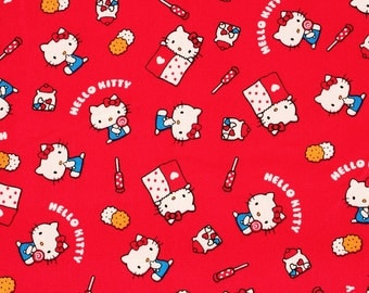 "Hello Kitty Character Fabric made in Japan, FQ 45cm by 53cm or 18"" by 21"""