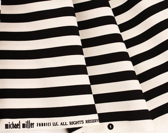 Tape Stripe Fabric 18 x 59(wide) Black and White by Michael Miller Fabrics by the Half Yard