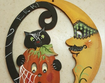 Halloween Moon Ornament, Black Cat and Moon Ornament, Cat with pumpkin and moon Ornament, Halloween Black Cat with Pumpkin Ornament