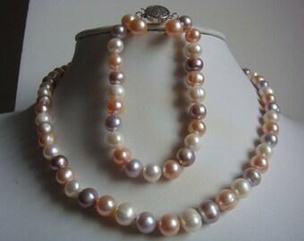 Pearl necklace bracelet earring set- cultured 8-9mm white pink purple fresh water pearl wedding necklace bracelet earrings set