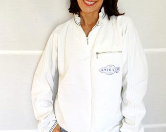 Oversize sweatshirt white American Body System zip-up sweatshirt long sleeved sweater cotton mens sweatshirt XL vintage 1980s
