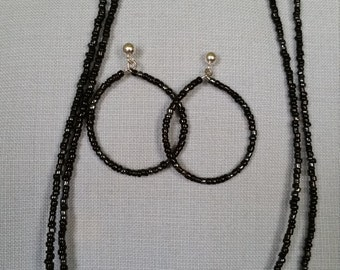 Black and silver seed bead necklace and hoop earrings