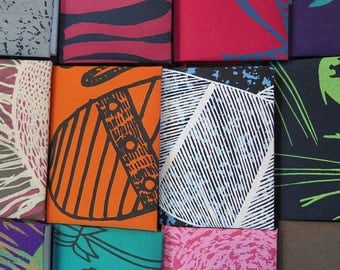 4 x Blank Notebooks - covered with hand-printed fabric designs