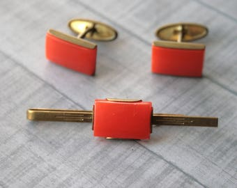 Orange Vintage Cuff Links and Tie Clip Set, Men's Accessory, for Him Gift USSR vintage cufflinks, retro cufflinks mens cufflinks set
