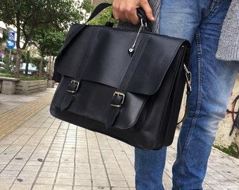 Leather Briefcase Men, Black Leather Messenger Bag, Men's Briefcase, Laptop Briefcase, Messenger Bag, 17'' Laptop Bag, Made in Greece.