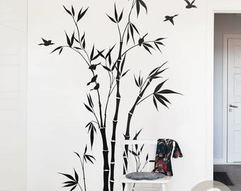 Bamboo Tree Forest Wall Decal Large Nursery Wall Decal Bamboo Stalks Wall  Sticker Wall Decor Removable