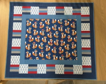 Fox Lap Quilt, Nautical Mini Quilt, Patchwork Quilt, Childs play mat, Sofa Throw, Nursery Decor, Travel Quilt, Modern Throw Quilt, Fox theme