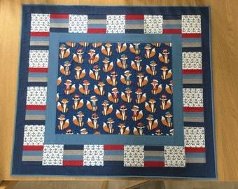 Fox Small Quilt, Nautical Mini Quilt, Patchwork Lap Quilt, Play mat, Sofa Throw, Travel Quilt, Modern Throw Quilt, Fox Picnic Blanket