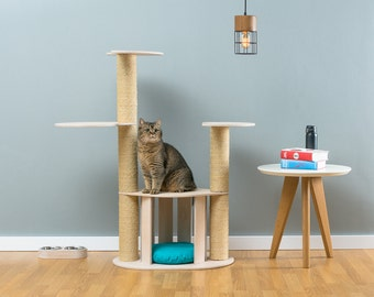 cat house with sisal tree moley white worldwide shipping modern cat furniture climb