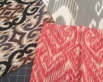 Ikat Print Canvas Fabric Assortment, Tribal Print, Upholstery Fabric, Home Decor Fabric, Pillows, Tote Bags, Remnants, Destash