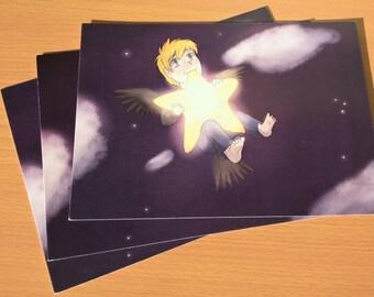 A5 Christian and his star Print comic book original character digital artwork cute