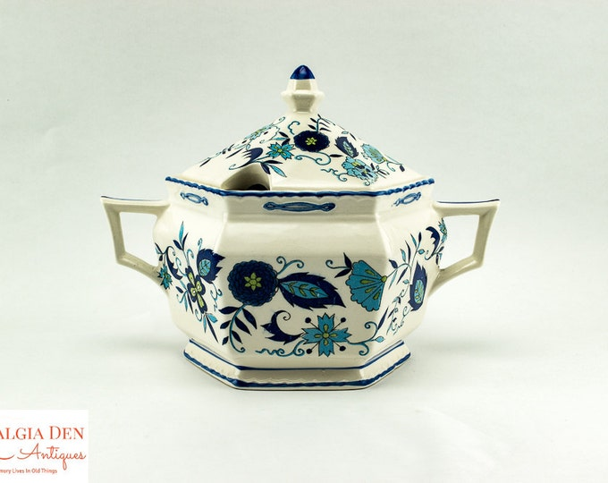 Vintage Mann Imports | Blue Heirloom | Ironstone China | Soup Tureen Server