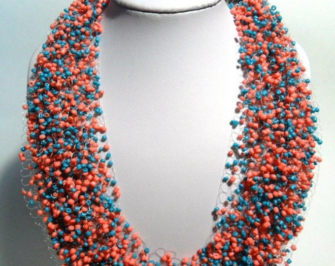 Turquoise terracota necklace gift for her statement airy crochet unusual gift multistrand everyday casual cobweb gift idea bridesmaid bead