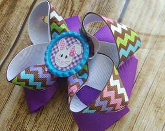 Large Boutique Bow - Easter Bunny Bow  - Layered Ribbon Bow - Lined Clip Bow - Party Bow - Summer Bow - Girls Boutique Easter Bow - Chevron
