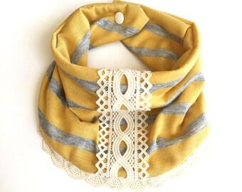 Heirloom Style Lace Jersey Bib Scarf