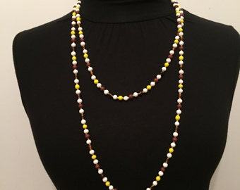 Glass Flapper - Retro Necklace - Brown Yellow White Glass Necklace - Beaded Necklace - Mid Century Jewelry