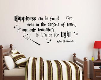 Happiness can be found Harry Potter wall decal Quote Albus Dumbledore available in 8 different sizes and 30 different colors