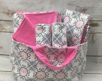 Baby Shower Gift Basket Girl  - Baby Girl Baby Gift Set - Fabric Basket - Changing Pad - Baby Blanket - Burp Cloth Set