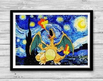 Dragon and Starry Night Print, Reproduction of Vincent Van Gogh Starry Night, Pokemon Charizard Cotton Canvas Print, Charizard Nursery Decor