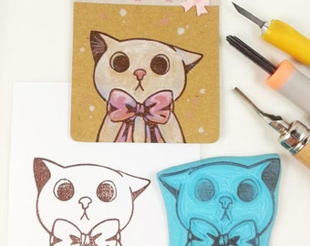 hand carved rubber stamp cute cat face head with big ribbon handmade for scrapbooking scrapbook big stamp animal stamp big eyes