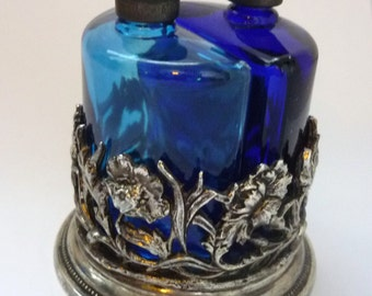Set of two Perfume Bottle English First Impressions Cobalt Blue Glass and Pewter overlay