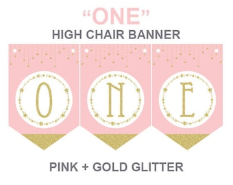Twinkle Twinkle Little Star High Chair Banner,printable high chair banner,pink and gold banner,instant download,first birthday banner