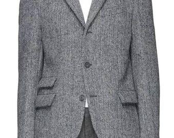 Grey Tweed Custom Fitted Jacket