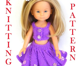 Knitting pattern to knit Dolls clothes to fit 12,13 inch (32-33cm) doll and comprises of skirt and top. PDF. Corolle, Paola Reina doll