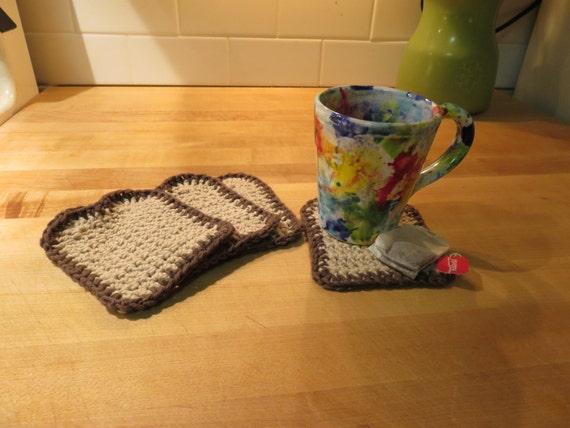 Items Similar To Toast Coasters Crocheted Set Of 4