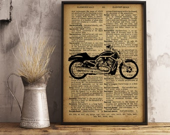Motorcycle Art Motorcycle Poster Vintage Motorcycle Dictionary Style Poster Cotton Canvas Print Motorcycle Wall Art Home Decor (M04)