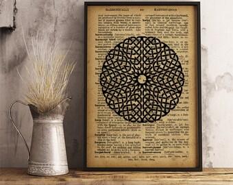 Sacred geometry wall art, Mandala Poster, Mandala Art Print, Rustic decor Print, Home decor, office decor, studio decor  (MA05)