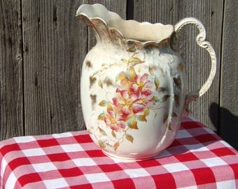 Antique Victorian Large Porcelain Pitcher Hand Painted Floral Pattern Gilded Big Vase Collectibles