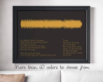 Custom Sound Wave Print for Any song you want, Black Background Personalized Soundwave Poster Engagement Wedding Gift First Song Gift Idea