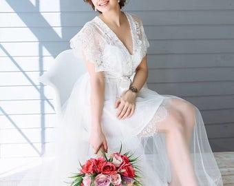 Boudoir Lace Tulle Dress, Bridal Robe Lace, Tulle boudoir gown, boudoir lace gown, Embroidered Lace Bridal Robe, Lace luxury robe