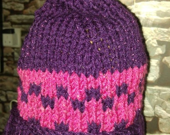 Funky purple and pink hand knit ladies hat