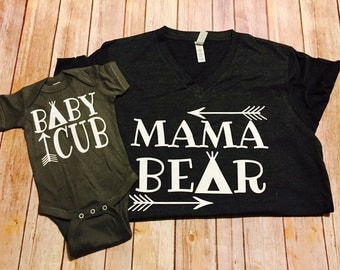 Mommy & Me// Mama Bear Baby Cub // baby bear little bear brother bear mommy bear matching shirts coming home outfit