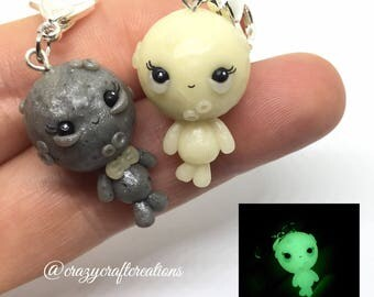 Adorable little moon munchkin handmade glow in the dark charm pendant necklace keychain