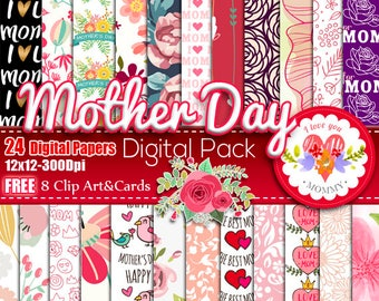 Mother's Day digital paper, Mother's Day floral digital papers, Mother Quotes, Printable Mothers Day, Mother's Day Cards Free Clip Art