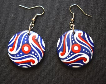 Blue painted wooden earrings Ethnic earrings Art painting earrings Wooden ethnic earrings Ethnic art painting earrings Earrings hand painted