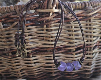 Leather cord necklace ~ Recycled glass beads ~ Lilac necklace.