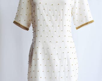 Handmade white with Golden Pearl dress.