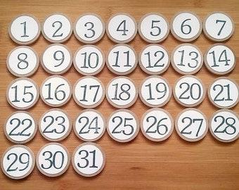 Calendar Number Magnets - Perpetual Calendar - Numbers 1-31 - Magnets - Number Magnets - Counting Activity