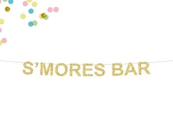 S'mores Bar Glitter Banner | Wedding Banner | Sweets Table Banner | Candy Bar | S'mores Buffet | Candy Bar Buffet | S'mores | Party Banner